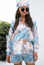 Ensemble chemise à manches longues et short à fleurs d'automne avec foulard assorti