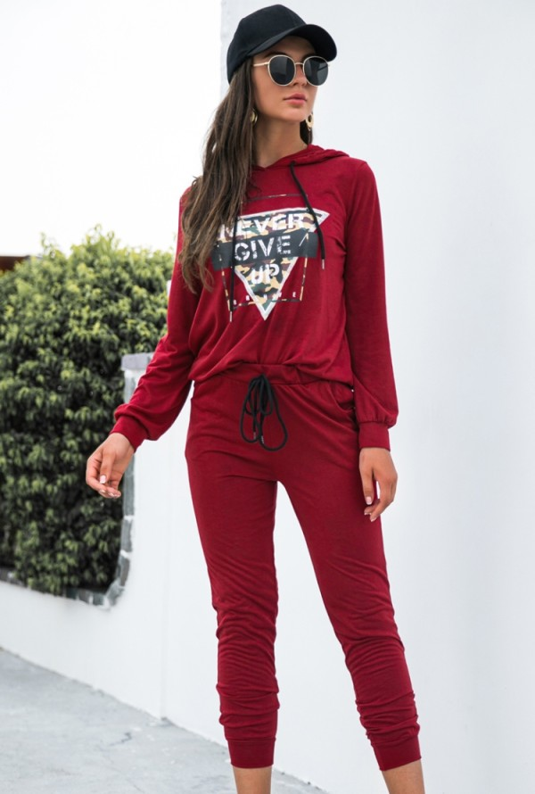 Tuta sportiva con cappuccio rossa stampata casual autunnale
