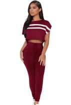 Conjunto de pantalón a juego y top corto con manga casquillo y raya roja informal de verano