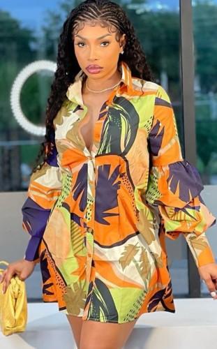 Robe chemise décontractée à fleurs d'automne avec manches à volants