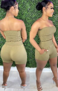 Summer Sexy Green Folded Strapless Crop Top and Matching Shorts Set