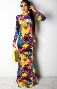 Vestido largo de manga larga con estampado de otoño Casaul