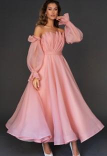 Vestido de noche doblado de manga larga con hombros descubiertos rosa elegante de Aummer