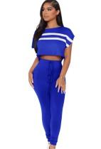 Sommer Casual Blue Stripe Cap Sleeve Crop Top und passende Hose Set