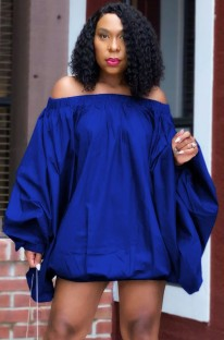 Autumn Blue Off Shoulder Loose Mini Casual Dress with Puff Sleeve