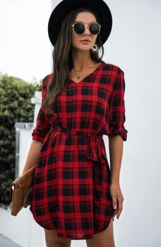 Herfst rode V-hals geruite casual jurk met lange mouwen en riem