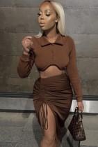 Autumn Casaul Brown Long Sleeve Turndown Collar Top with Wrinkle String skirt Set