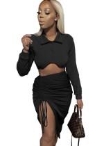 Autumn Casaul Black Long Sleeve Turndown Collar Top with Wrinkle String skirt Set