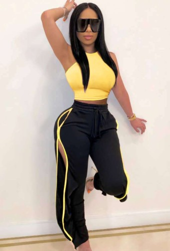 Summer Sexy Yellow Tight Solid Crop Top et Fente Contraste Passepoil Ensemble