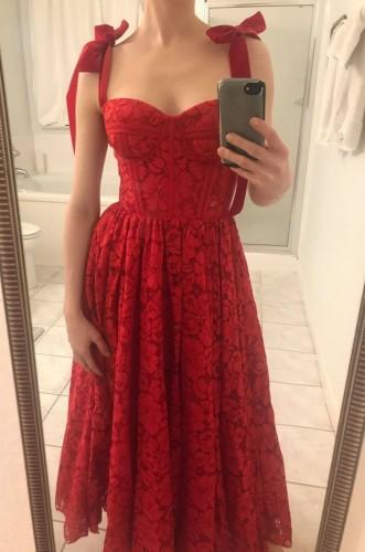 Summer Elegant Flower Red Sweetheart Neck Strap Bridesmaid Dress