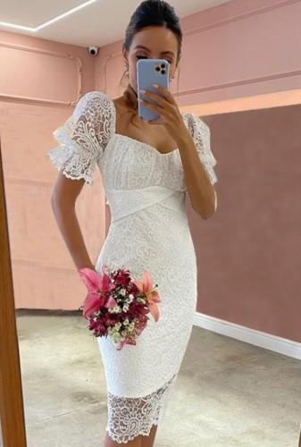 Zomer elegante witte kanten midi-jurk met sweetheart hals
