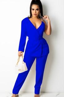 Otoño Casaul Azul Una manga larga con conjunto de chaqueta y pantalón de tiras de cadena