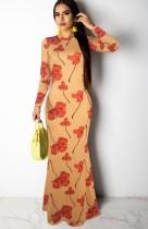 Vestido largo de manga larga con estampado de flores de Casaul de otoño