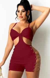 Pagliaccetti con catena laterale con cinturino rosso sexy estivo