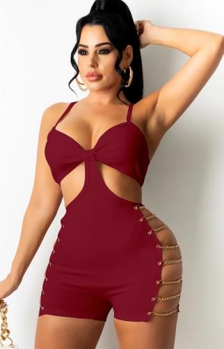 Zomer sexy rode riem zijketting rompers