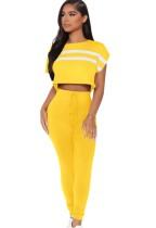 Sommer Casual Gelb Streifen Flügelärmeln Crop Top und passende Hosen Set
