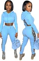 Autumn Casaul Blue Hollow Out Hoodies Conjunto de pantalón de vendaje lateral y superior