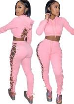 Autumn Casaul Pink Hollow Out Hoodies Conjunto de pantalón de vendaje lateral y superior