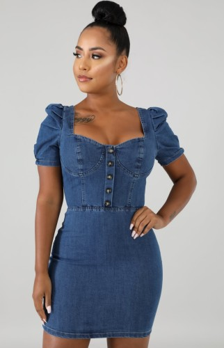 Summer Casual Square Puff Sleeve Denim Mini Bodycon Dress Blue