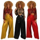 Pantaloni a bretella a gambe larghe a vita alta in pelle rossa autunno con cintura
