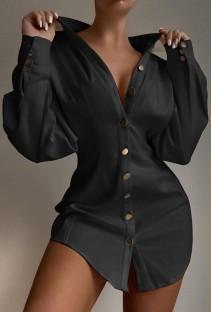Осенняя повседневная черная длинная блузка с объемными рукавами