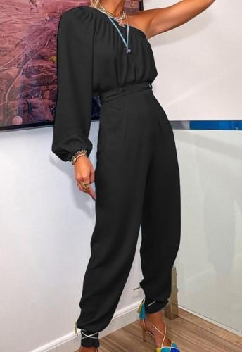 Sonbahar Resmi Siyah Tek Omuz Şişme Kol Üst ve Pantolon 2 Parça Takım