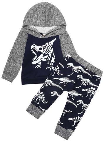 Kids Boy Autumn Print Hoody Top and Pants 2 Piece Tracksuit