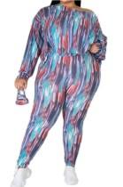 Conjunto de 3 piezas de camisa y pantalones casuales con estampado de tallas grandes de otoño con cubierta facial
