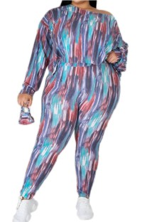 Autumn Plus Size Print Casual Shirt and Pants with Face Cover 3 Piece Set