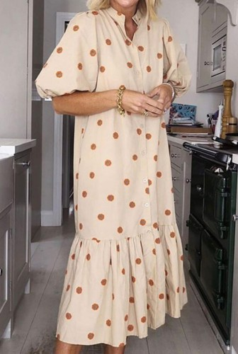 Sonbahar Günlük Polka Puf Kol Uzun Elbise