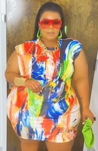 Summer Plus Size Colorful Print Sleeveless Bodycon Dress