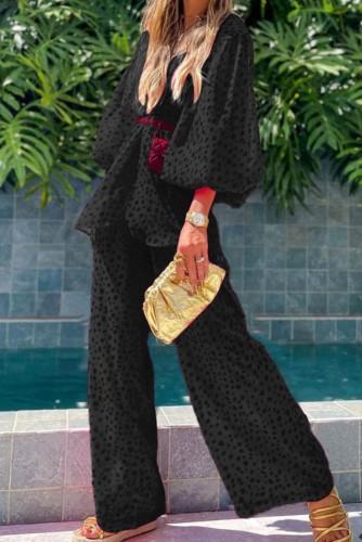 Sonbahar Siyah Desenli Puf Kol Bluz ve Pantolon 2'li Takım