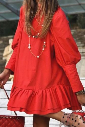 Sonbahar Günlük Kırmızı Puf Kol Ruffles Kısa Gevşek Elbise