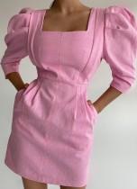 Летнее Элегантное Мини-Платье с Квадратными Пышными Рукавами Розовый