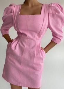 Mini abito estivo elegante con maniche a sbuffo quadrato rosa