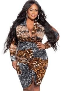Autumn Plus Size Print Leopard Sexy Deep-V Ruched Midi Dress