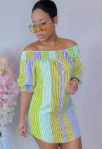 Sommer Casual Streifen Schulterfreies Kurzes Blusenkleid