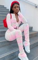 Herbst Tie Dye Pink Casual gerafftes Crop Top und Hose 2er Set