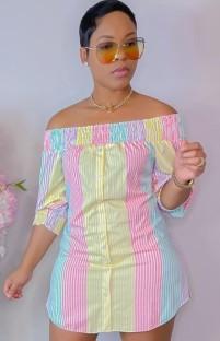 Vestido de blusa corta con hombros descubiertos y rayas casuales de verano