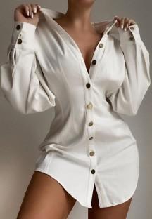 Осенняя повседневная белая длинная блузка с объемными рукавами