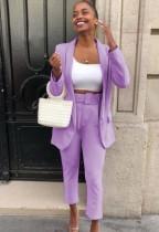Blazer long violet professionnel d'automne et pantalon assorti costume de bureau 2 pièces