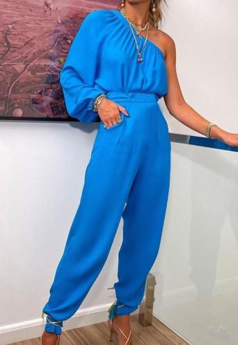 Sonbahar Resmi Mavi Tek Omuz Puf Kol Üst ve Pantolon 2 Parça Takım