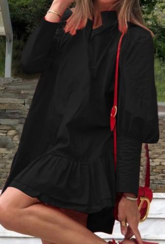 Sonbahar Günlük Siyah Puf Kol Fırfırlı Kısa Bol Elbise