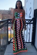 Vestido largo halter sexy con abertura y estampado multicolor de verano