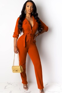 Herfst professionele button-up oranje kantoorjumpsuit met lange mouwen en riem