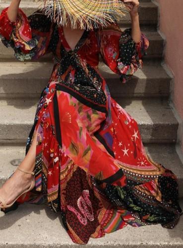 Sonbahar Zarif Baskı Renkli Puf Kol V Yaka Uzun Maxi Elbise