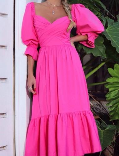 Sonbahar Resmi Pembe Sweetheart Puf Kol Uzun Maxi Elbise
