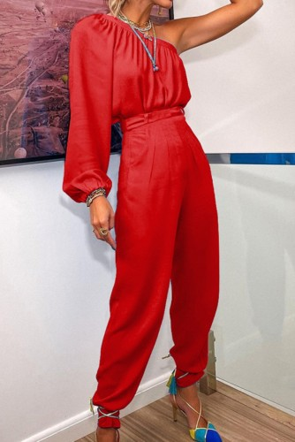 Sonbahar Resmi Kırmızı Tek Omuz Puf Kol Üst ve Pantolon 2 Parça Takım