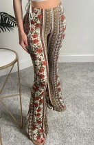 Sommer-Print-Retro-Flare-Hose mit hoher Taille