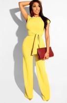 Sonbahar Günlük Ribanalı Düğümlü Kısa Üst ve Pantolon 2'li Takım Sarı